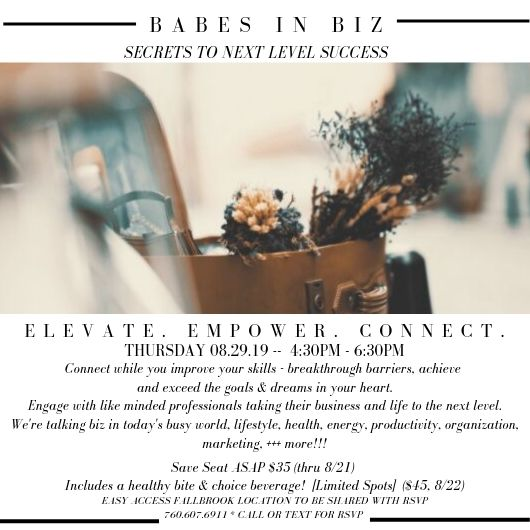 Babes in Biz Event August 29!